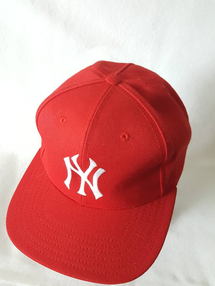 Vtg  New York Yankees Red baseball snapback alternate colorway Twins Ent hat cap MLB Jeter Rivera NY DS
