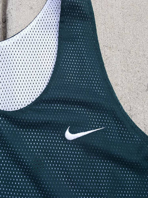 Vintage Nike Swoosh reversible  forest Olive green white LG XL