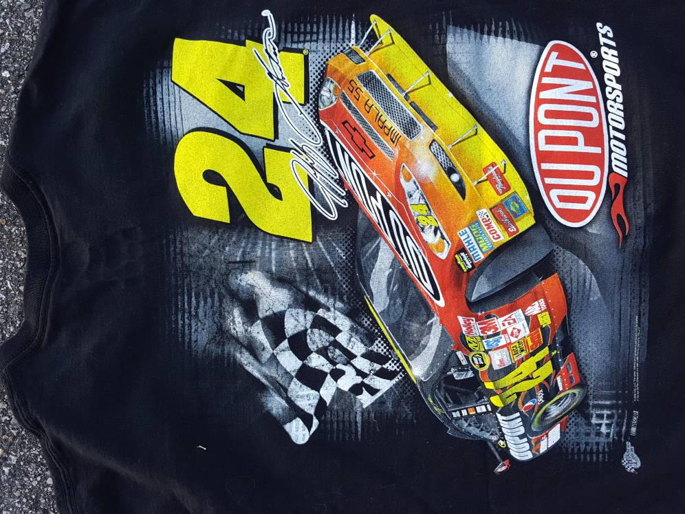 Vtg Jeff Gordon Racing #24 Tee Shirt Rainbow Warrior 2 sided