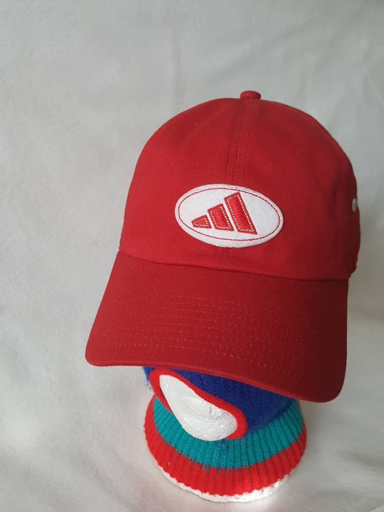 Vtg Adidas patch Strapback red Dad hat Yeezy Ultra Boost NMD superstar Tubular