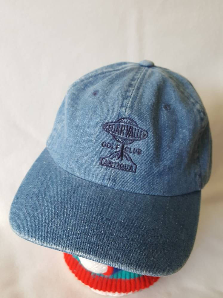 Vtg Cedar Valley Golf Club Strapback denim Dad hat cap Yupoong  preppy golf