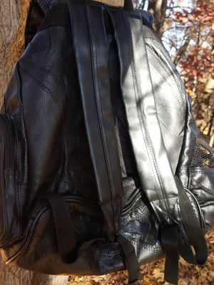 Vtg 90s Leather Backpack Black Rucksack Patchwork Bookbag holiday sale 16 x 15