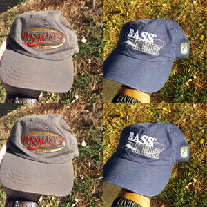 Two vtg Bass Masters  strapback Dad hat holiday sale b.a.s.s.