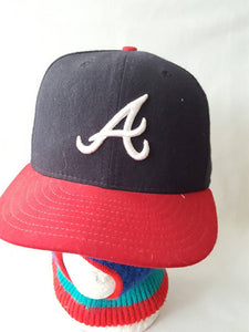 Vtg  Atlanta Braves Fitted 7 3/8 New Era 59 50 hat cap Diamond Collection  playoffs mlb  David justice smoltz