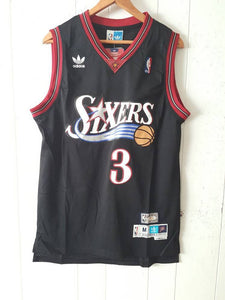 Allen Iverson Philadelphia 76ers 90s Throwback Black Sixers Jersey size small