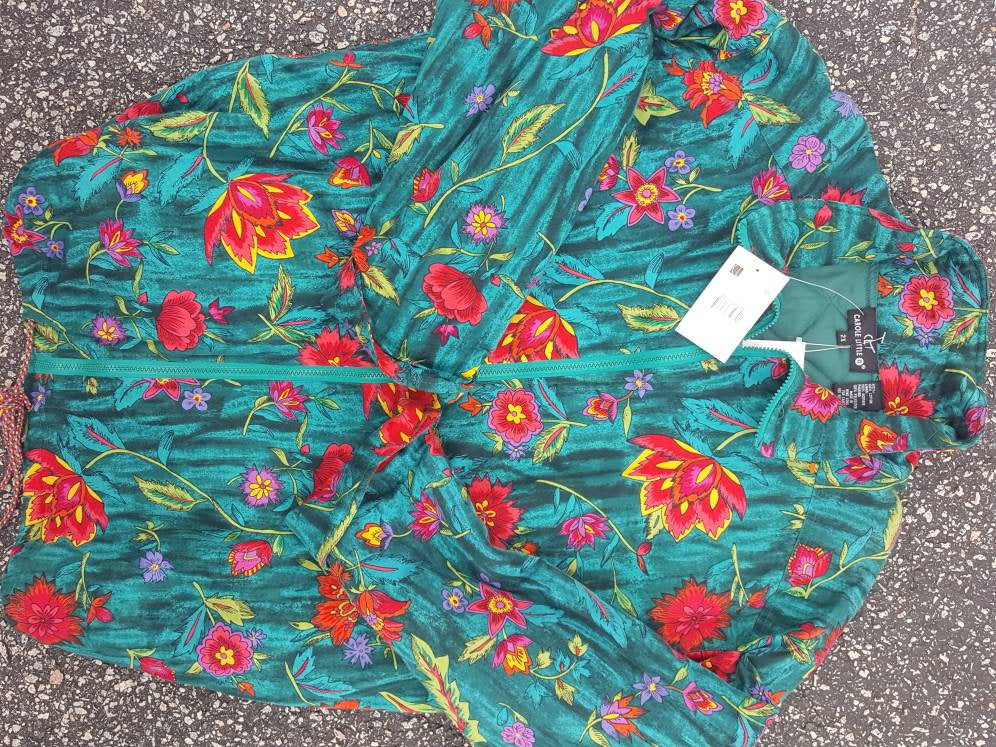 Vtg  Floral Button Down Jacket Sz 2x Carol little  quilted trench coat Deadstock with tags