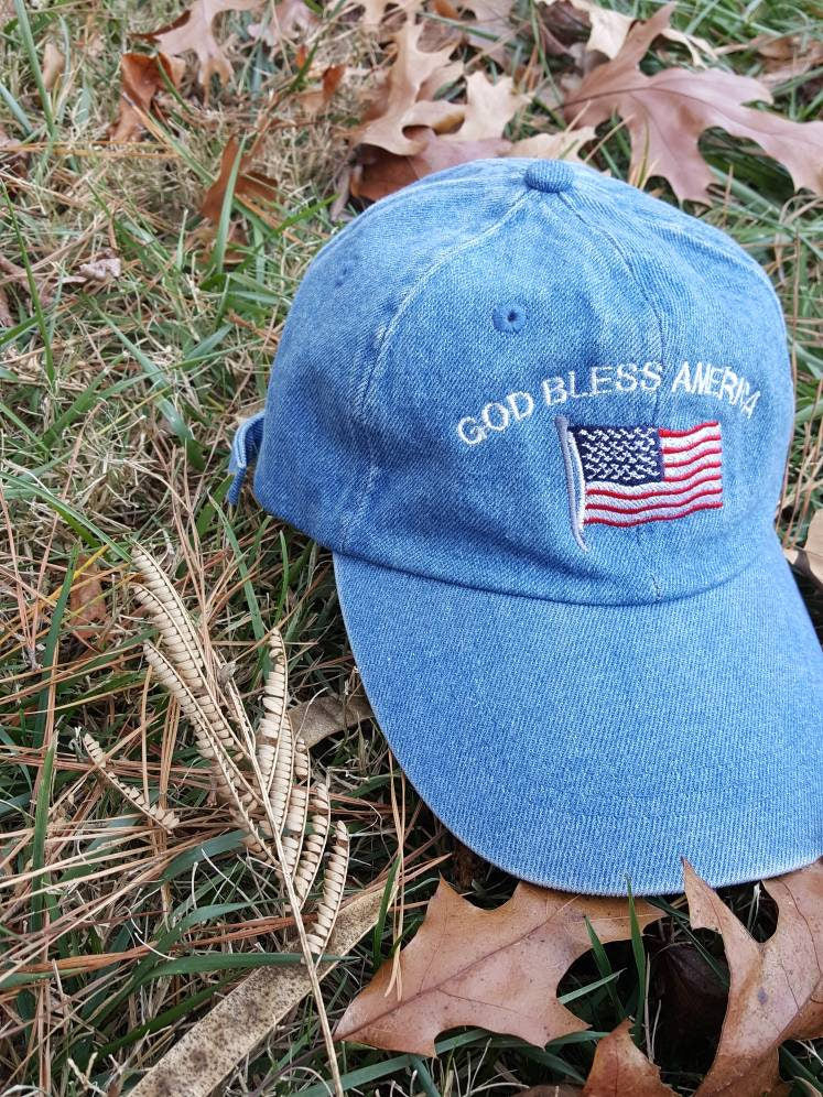 Vtg God bless America denim Dad hat strapback cap