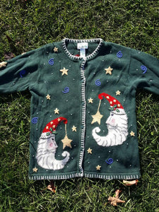 Vtg Ugly Christmas Sweater Quaker factory Sz Med Tacky Xmas  Holiday Party