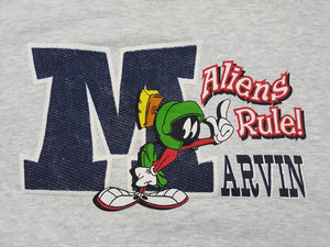 Vtg Marvin the Martian Looney Tune Aliens Rule Crewneck Sweatshirt Sz XL Space Jam Tune squad