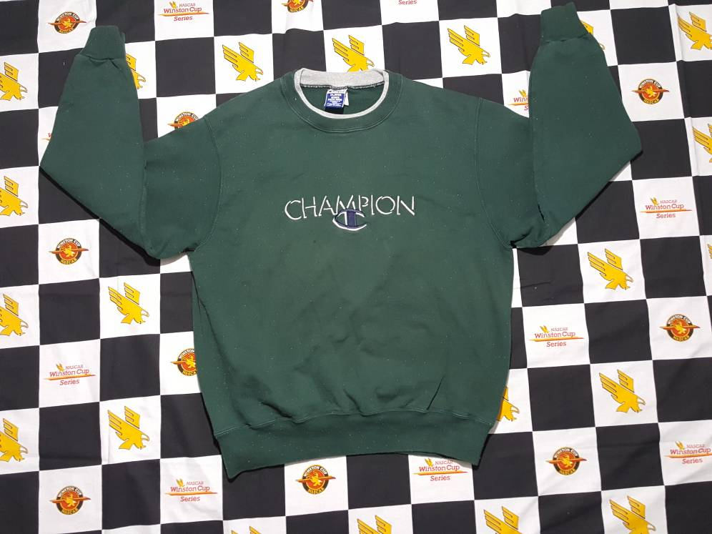 Vtg Champion 3D logo green crewneck Sweatshirt  Size XL