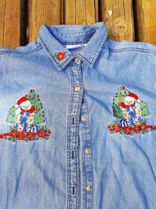 Vtg Ugly Christmas long sleeve Denim Shirt Sz XL   Holiday Bear Presents Tacky Xmas Party