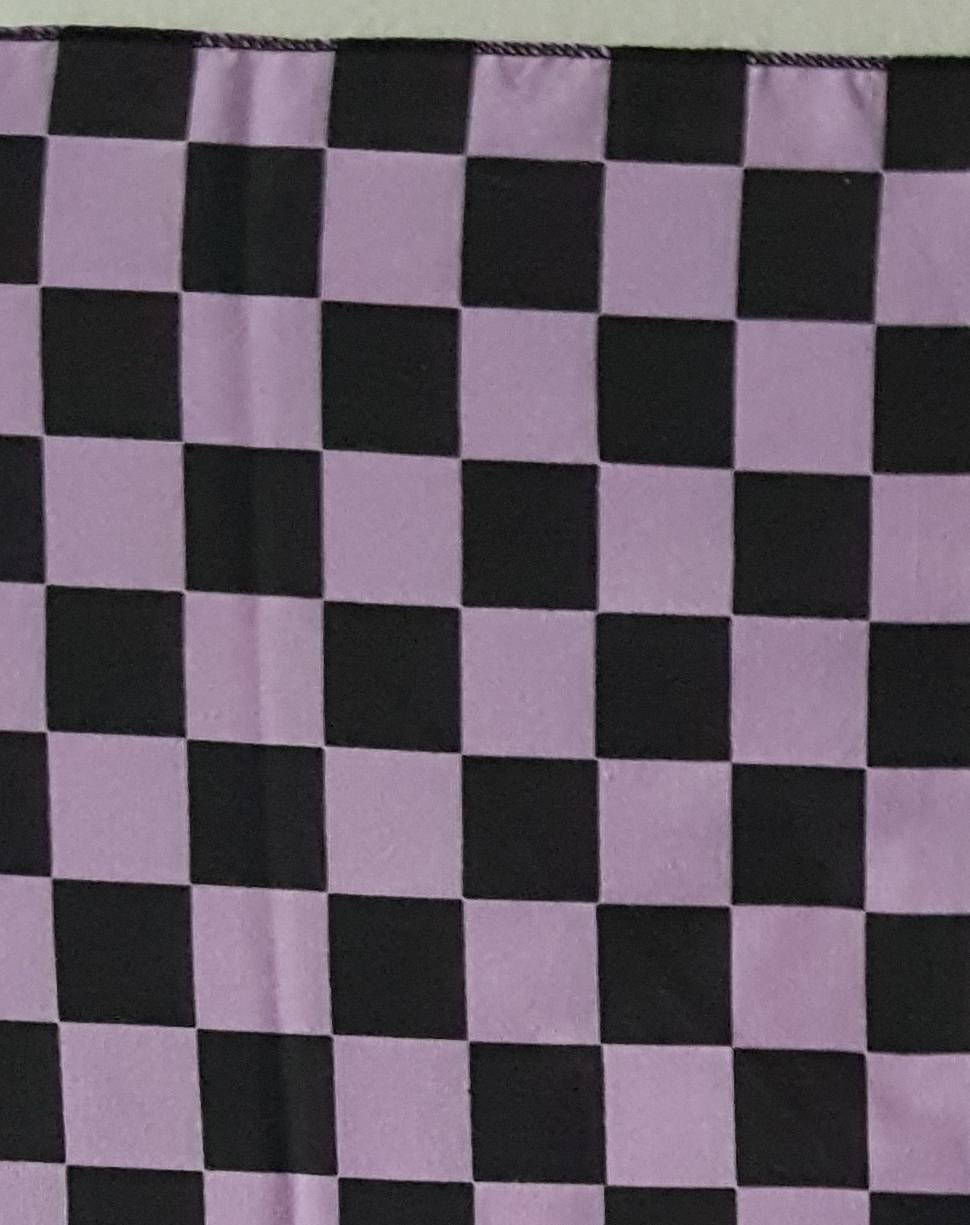 Vtg Checkerboard Black  Purple  bandana  21 x 21