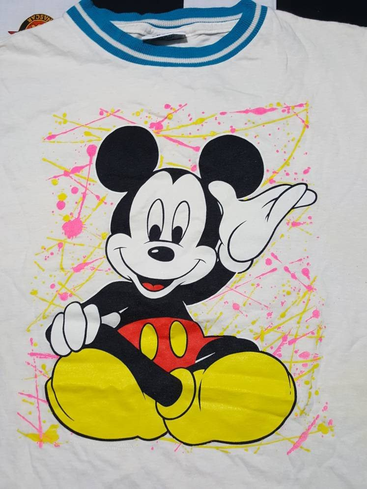 Vtg 80s Mickey Mouse  Disney  Shirt Sz L Velva Sheen Made in USA