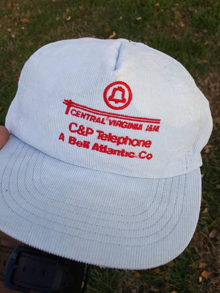 vtg Bell Atlantic C & P Telephone Corduroy snapback Virginia work wear communication