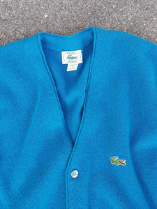 Vtg Lacoste Button Down Sweater  Sz Large Alligator Tiger Izod