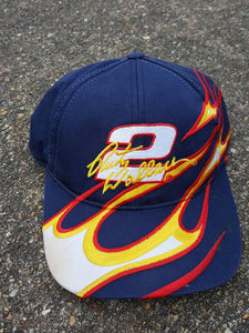 Vtg 90s Rusty Wallace #2 Fire Flame snapback hat Script chase authentics hat