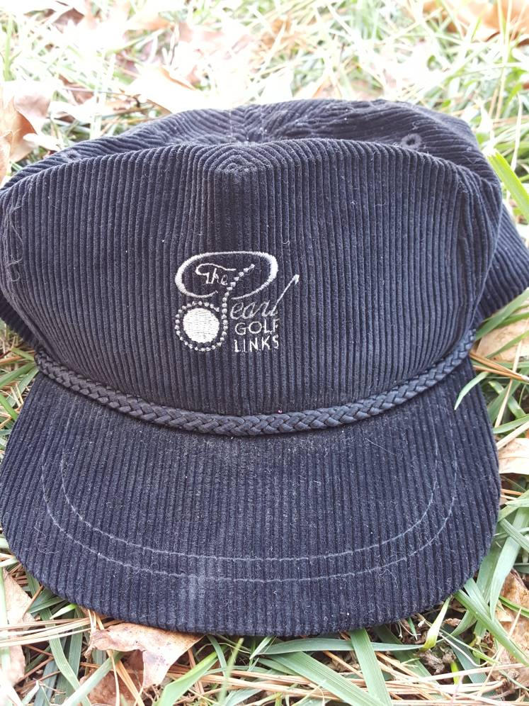 Vtg The Pearl Golf Links  Corduroy hat Leather Strapback