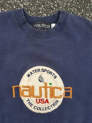 Vtg Nautica Motorsports the collection Crewneck SweatShirt Sz XL leather patch sailboat