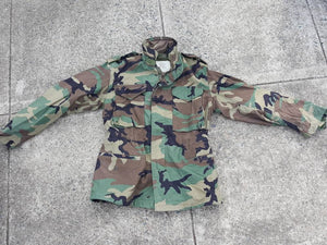 Vtg Camo Military Jacket with hood Size Small Regular Camouflage Grunge