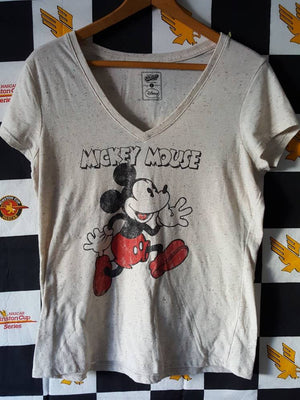 Mickey Mouse V neck Womens Tee shirt sz LG  Disneyland Disneyworld