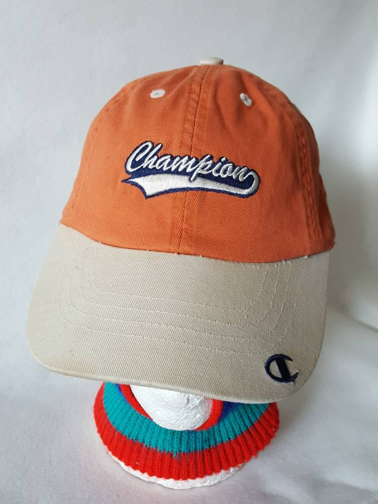 Vtg 90s Champion script Authentic Apparel Dad hat cap