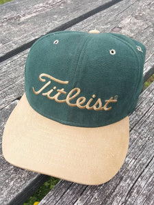 Vtg Titleist New Era Leather Strapback hat made in usa Kingsmill on the James