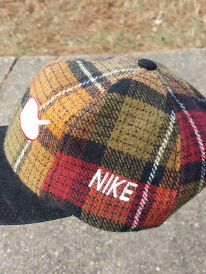 Vtg Bootleg 90s Nike  swoosh plaid dad hat  leather strapback cap Uptempo Air max acg tn
