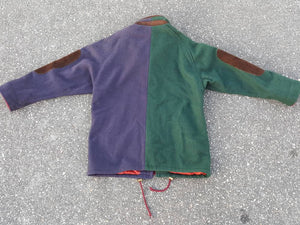 Vtg Jofeld Wool Button Down Jacket Colorblock  w/ suede made in USA size large
