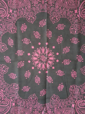 Black and Pink Paisley bandana  21 x 21