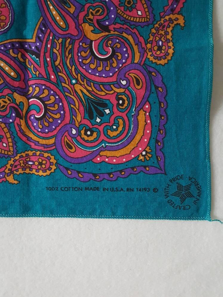 Teal / Purple / Pink Paisley bandana  21 x 21 made in usa