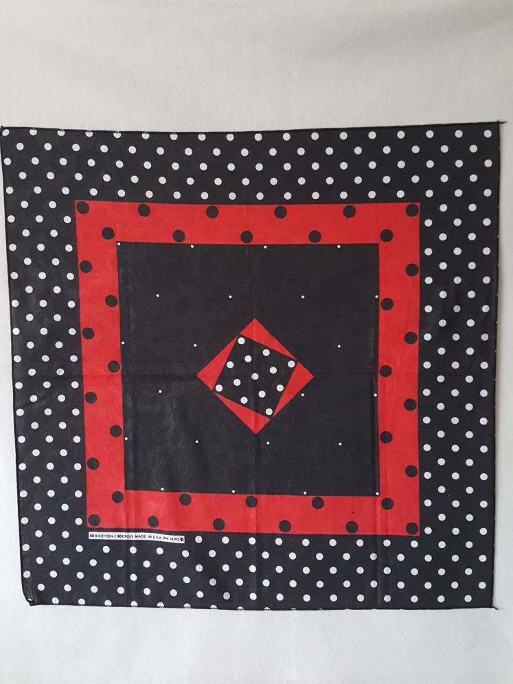 Rose Print / Polka Dot  bandana  20 x 21 made in usa