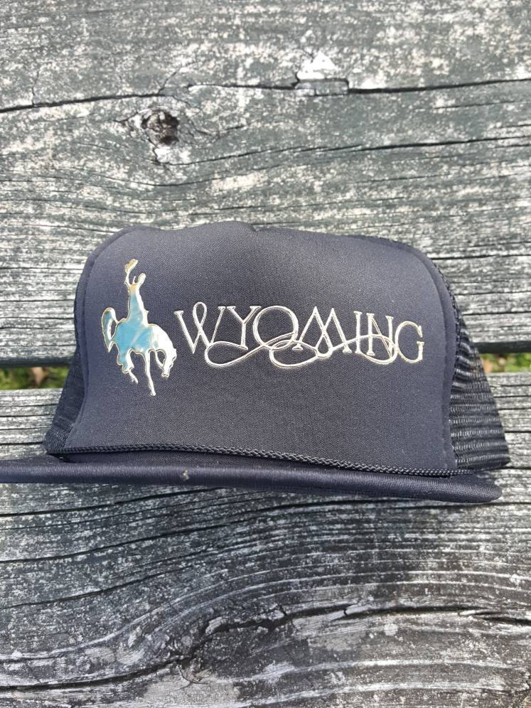 Vtg Wyoming Cowboy 90s snapback hat cap rodeo