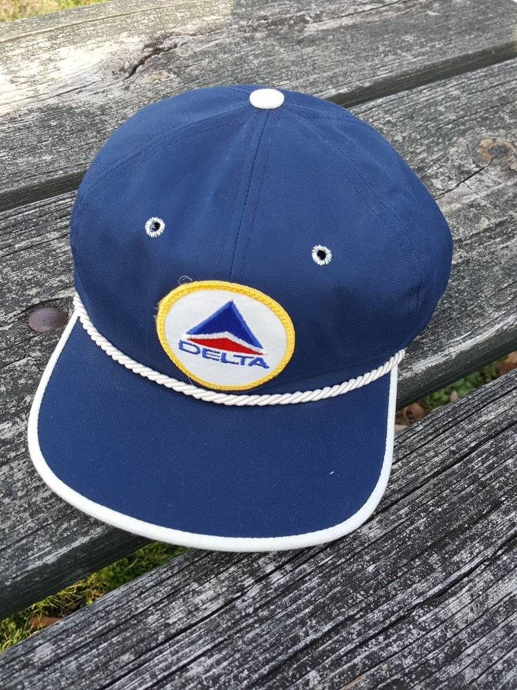 Vtg 80s Delta Airlines Strapback made in usa texace