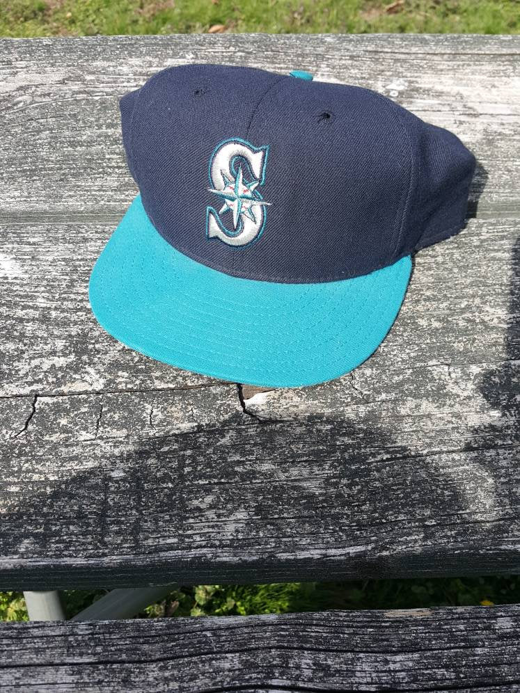 Vtg Seattle Mariners Fitted Cap 7 3/4 wool New Era Pro Model Diamond Collection hat Griffey Jr.
