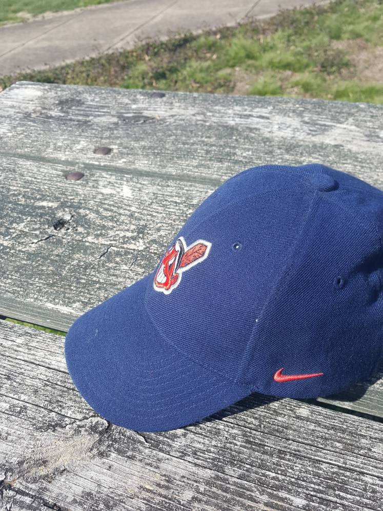 6fbbe8126ff ... clearance vtg cleveland indians nike dad hat 90s chief wahoo cap retro  dope mlb kenny lofton