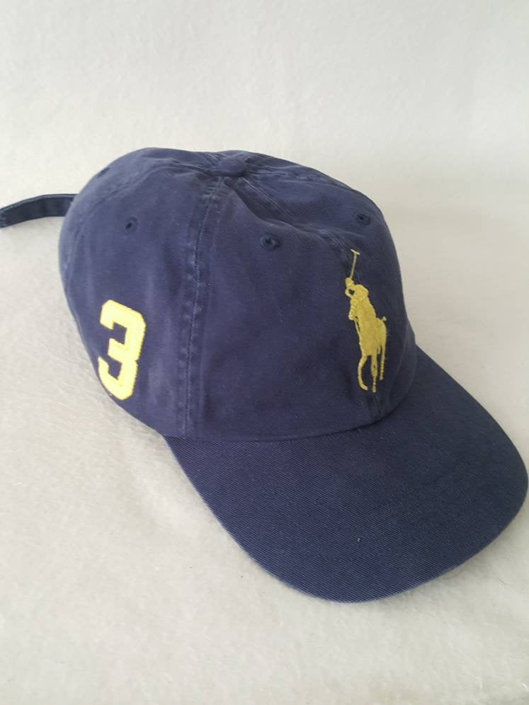 Vtg Blue Polo Ralph Lauren Big Horse  3 Strapback dad hat yellow Horse 30991af4068c