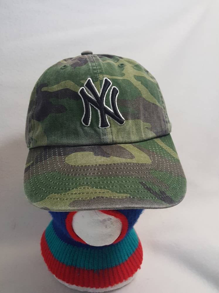 Vtg New York Yankees Camo baseball dad hat cap Twins Ent MLB Jeter Rivera NY