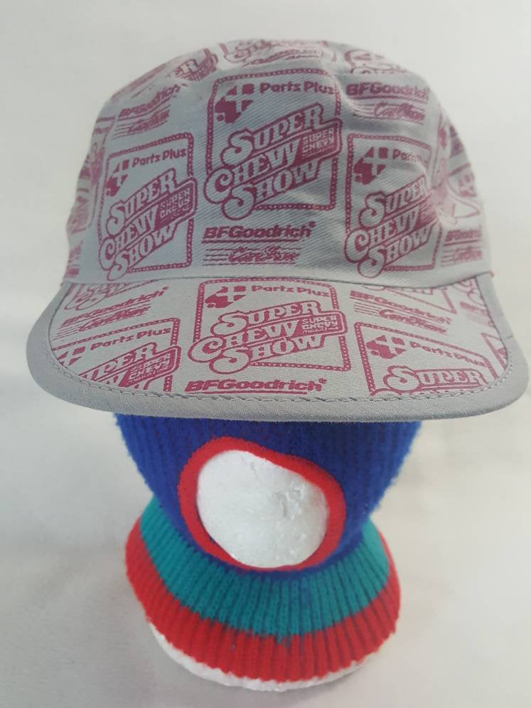 Vtg Super Chevy Show x BF Goodrich All over print Snapback  hat Painters cap Chevrolet 70s tv