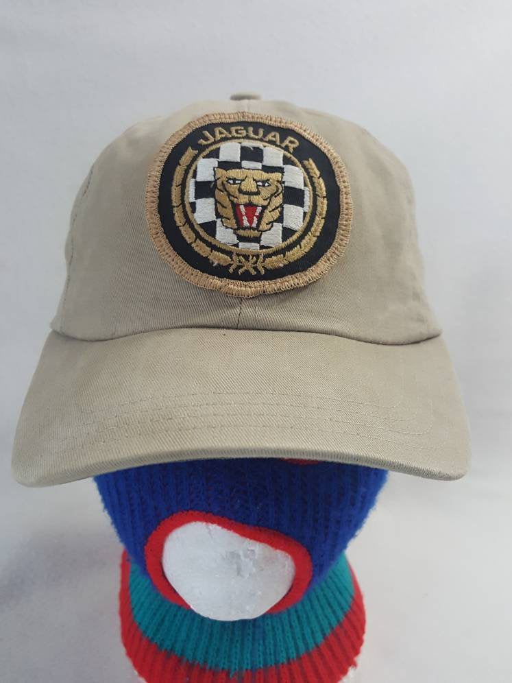 Vintage Jaguar Car Strapback hat khaki dad hat patch cap