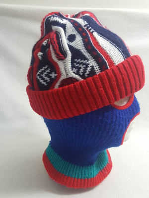 Vtg Red Blue Biggie Sweater Style Coogi knit hat