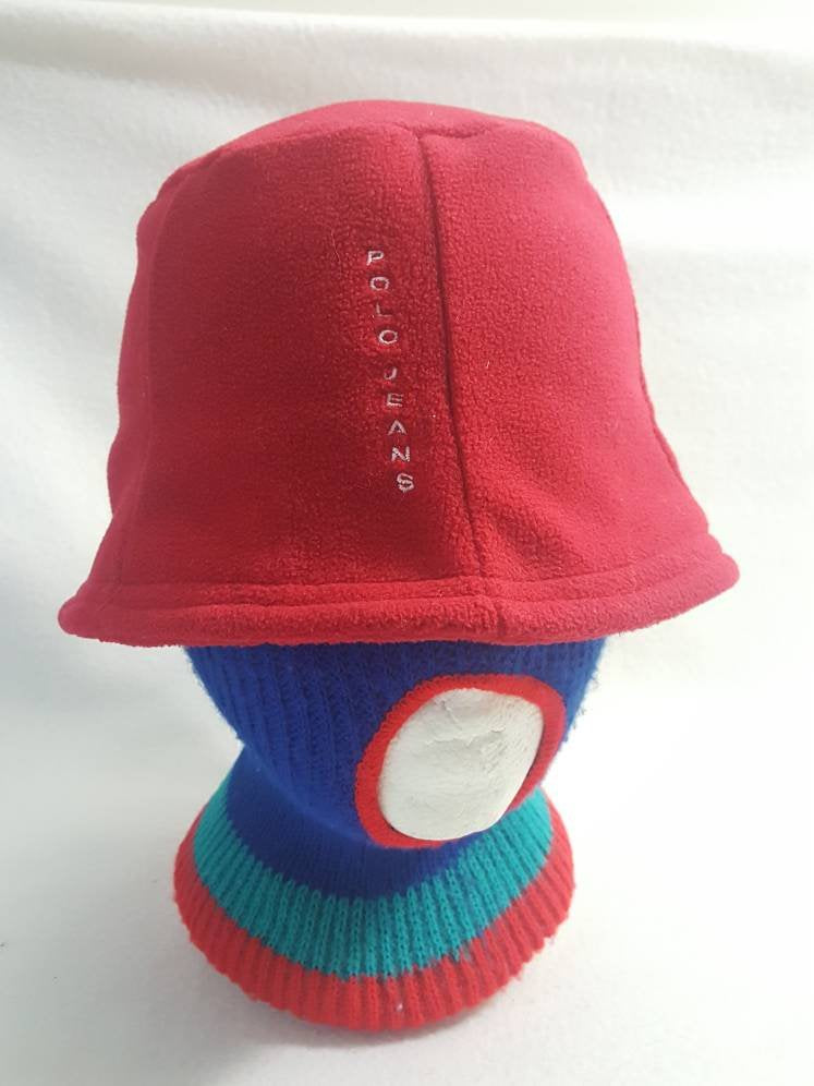 Vintage Polo Jeans Fleece Bucket  hat cap  Spell Out