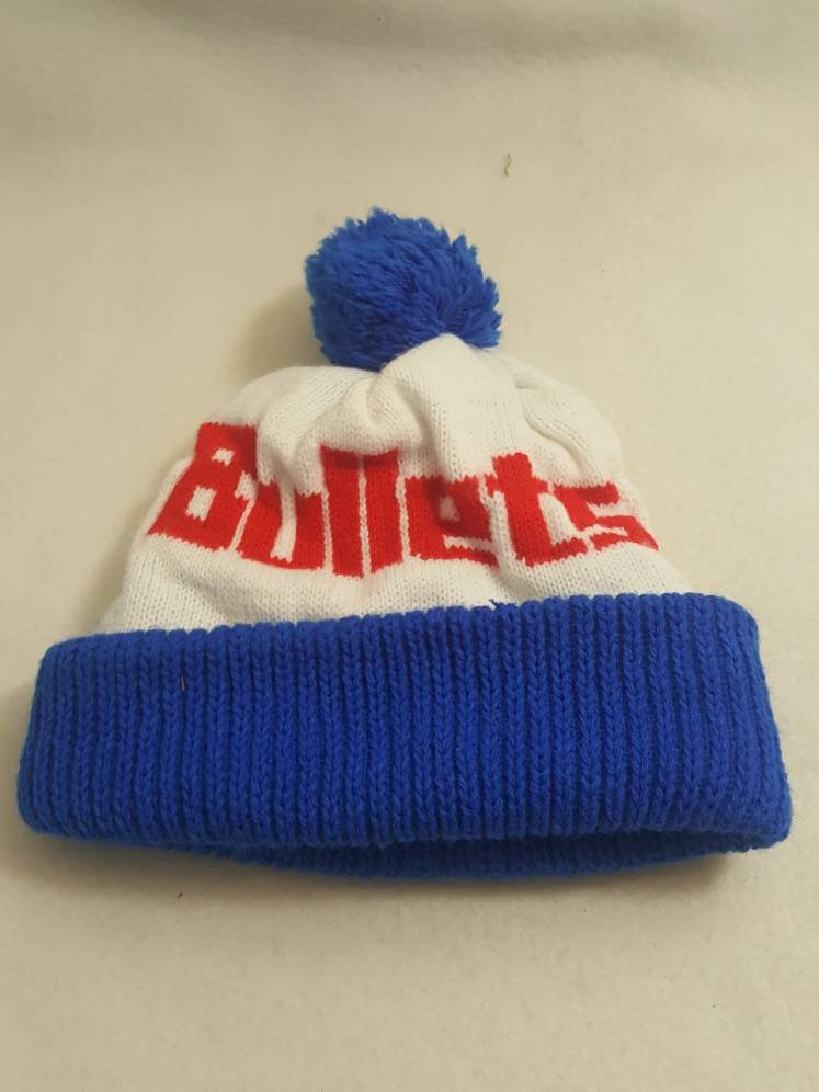 Vtg 80s Washington Bullets x Safeway Cuffed Beanie hat knit Winter cap