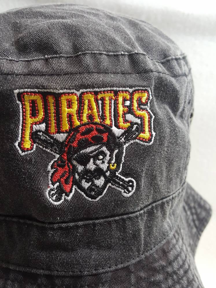 Vtg  Pittsburgh Pirates Bucket hat MLB baseball fisherman cap