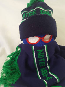 Vtg Notre Dame knit Beanie hat w/ matching Scarf  fighting Irish Winter skullie cap