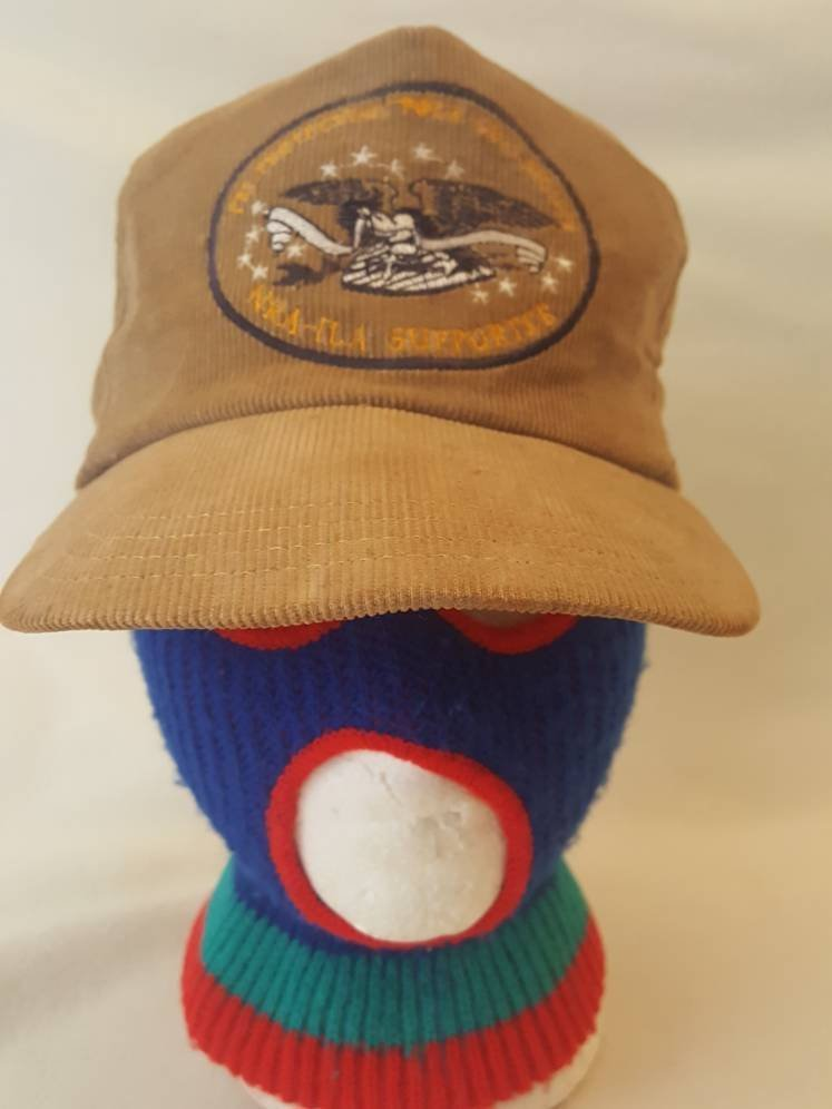 Vtg NRA Corduroy I'm protecting your rights patch  snapback hat adjustable National Rifle Association America USA 2nd Amendment