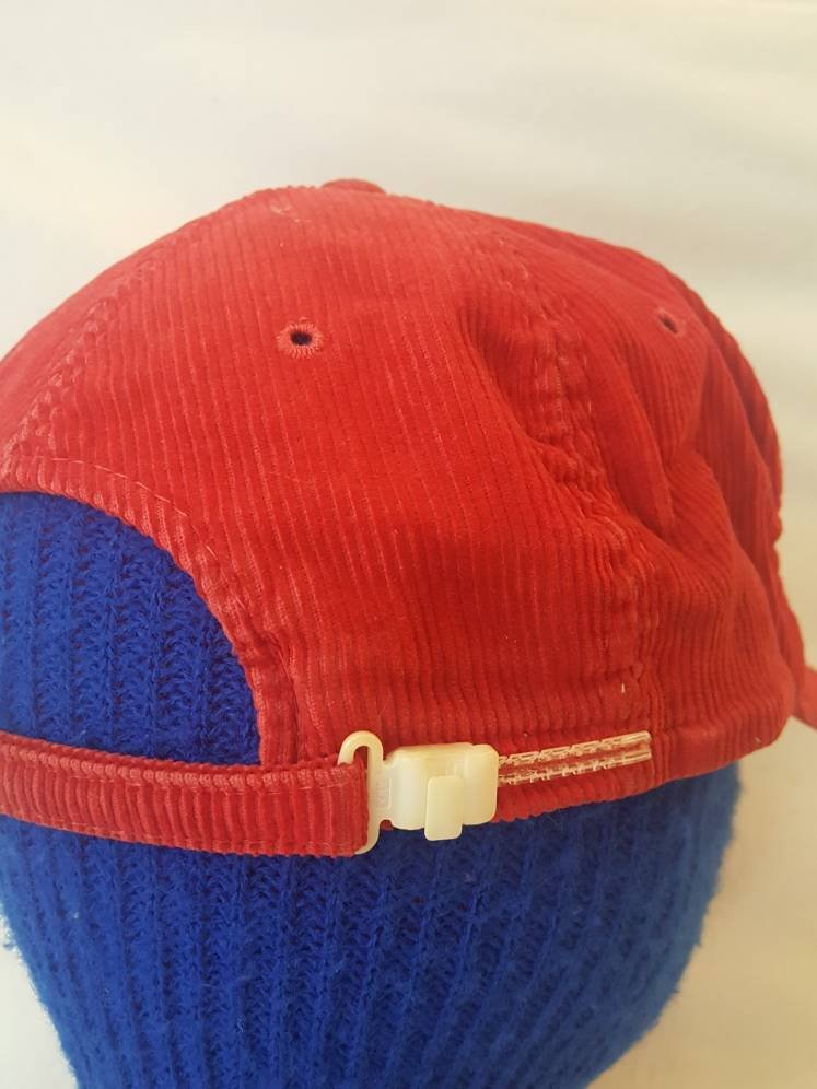 Vtg Corduroy Britches Great Outdoors  red  zipper Snapback hat zipback cap