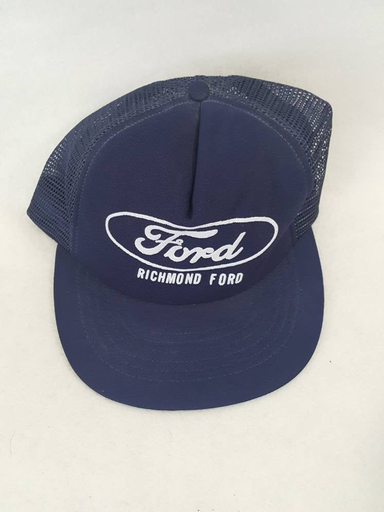 Vtg Ford Richmond 80s  snapback hat work wear cap made in USA navy blue
