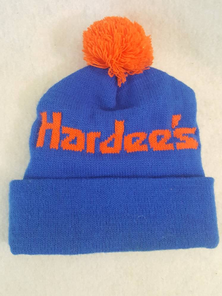 Vtg 80s  Hardees hat Winter beanie cap Retro Style  knit skullie  food restaurant