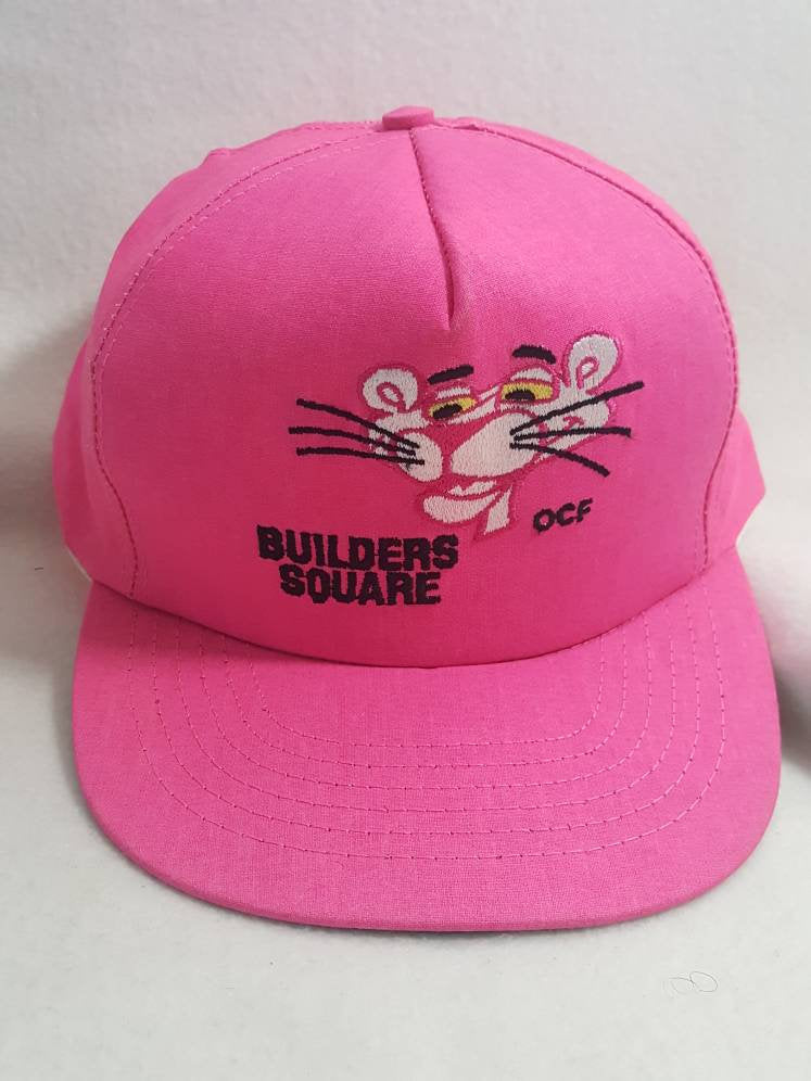 Vtg Pink Panther snapback hat cap . Builders Square Rare Made In USA
