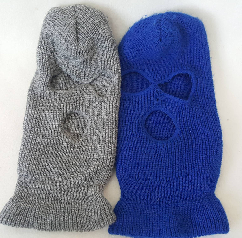 2 vtg  Ski Mask Baclava 90s Retro  Royal blue and grey  beanie  hat